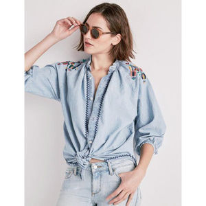 Lucky Brand Chambray Embroidered Oversized Shirt M